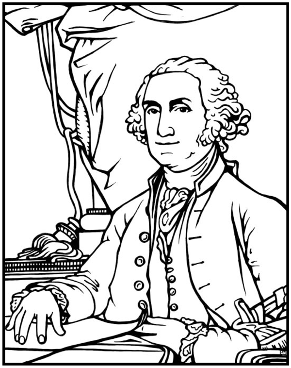 George Washington Coloring Page Purple Kitty
