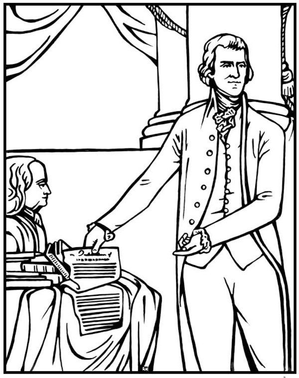 Thomas Jefferson Coloring Page Purple Kitty