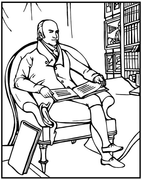 John Quincy Adams Coloring Page Purple Kitty