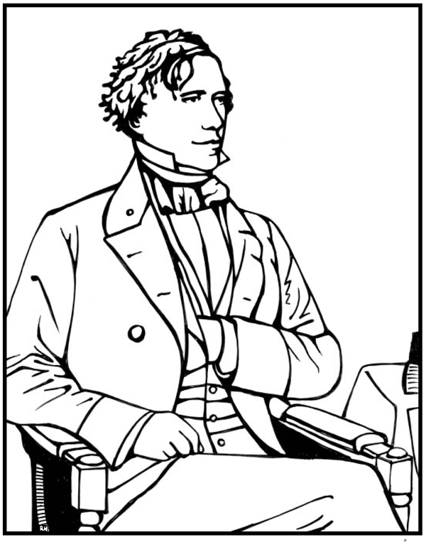 Franklin Pierce Coloring Page Purple Kitty