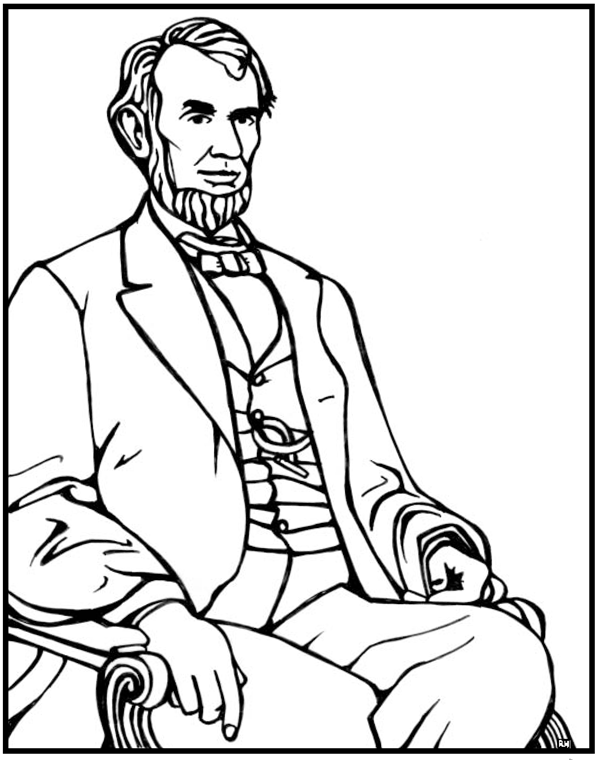 Abraham lincoln coloring page purple kitty for Lincoln coloring pages
