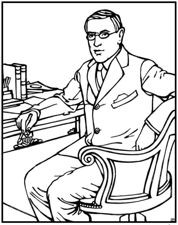 woodrow wilson coloring pages - photo#1
