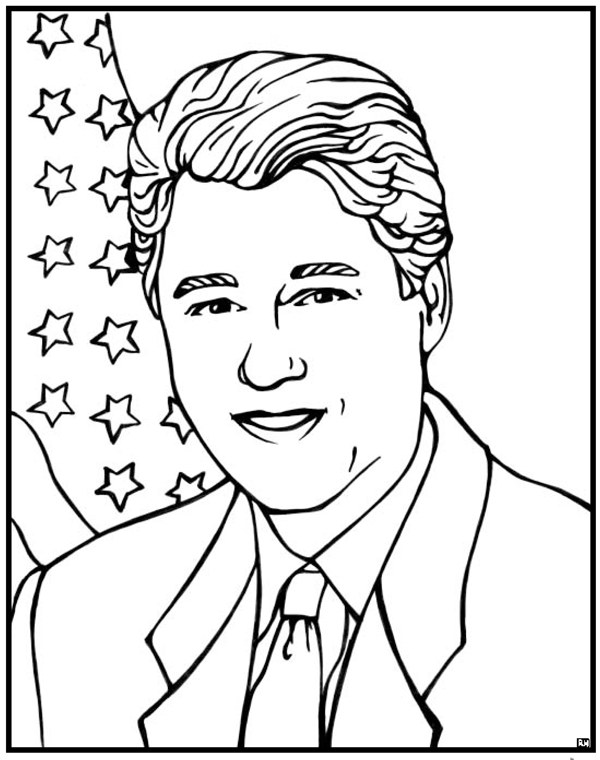 Bill Clinton Coloring Page Purple Kitty