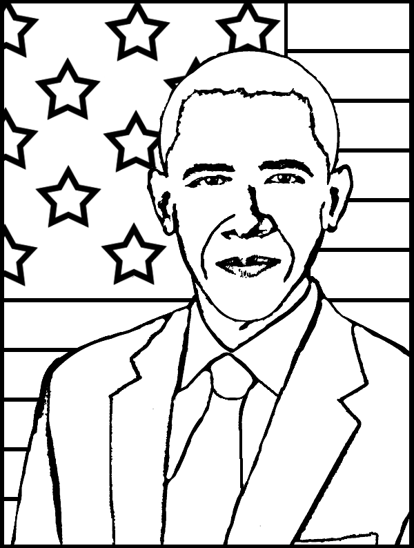 Barack Obama Coloring Page Purple Kitty Barack Obama Coloring Page