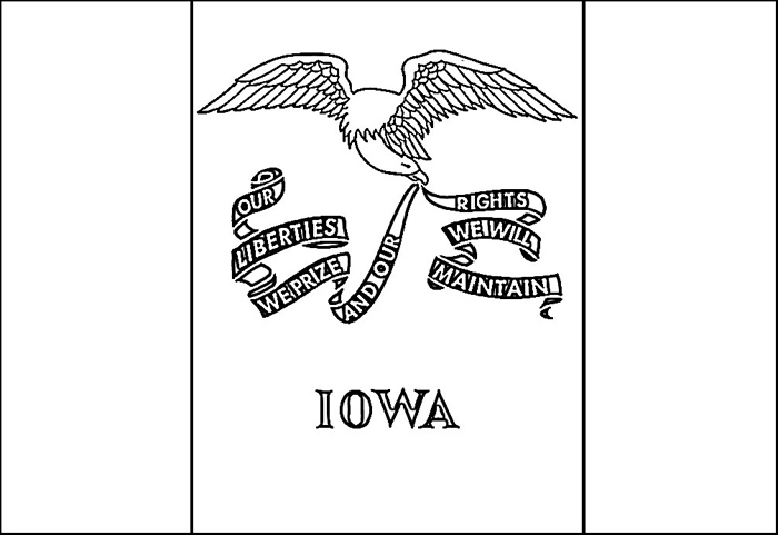Iowa Flag Coloring Page Purple Kitty