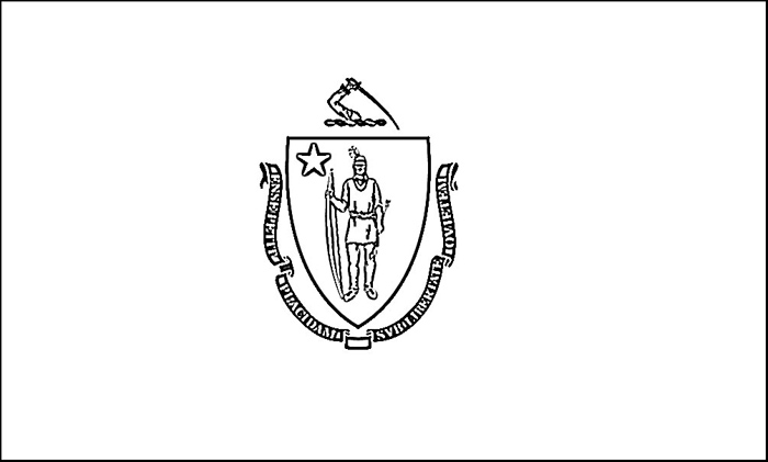 Massachusetts Flag Coloring Page Purple Kitty