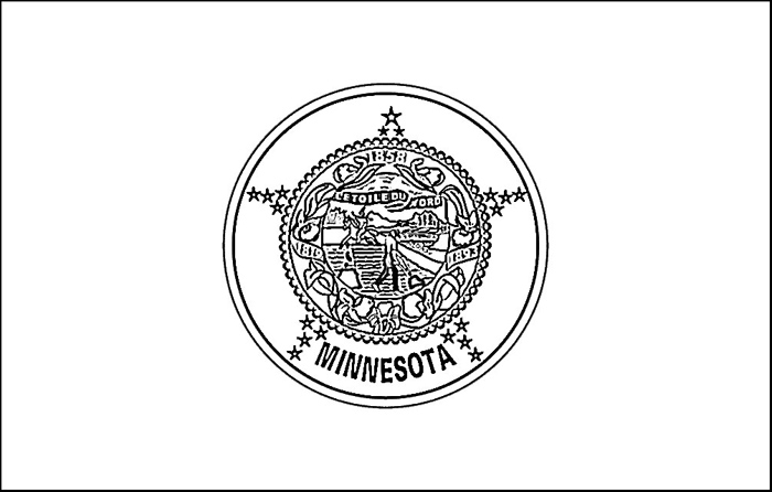 Minnesota Flag Coloring Page Purple Kitty