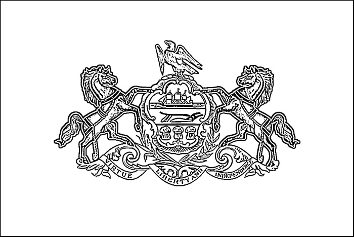 Pennsylvania Flag Coloring Page Purple Kitty