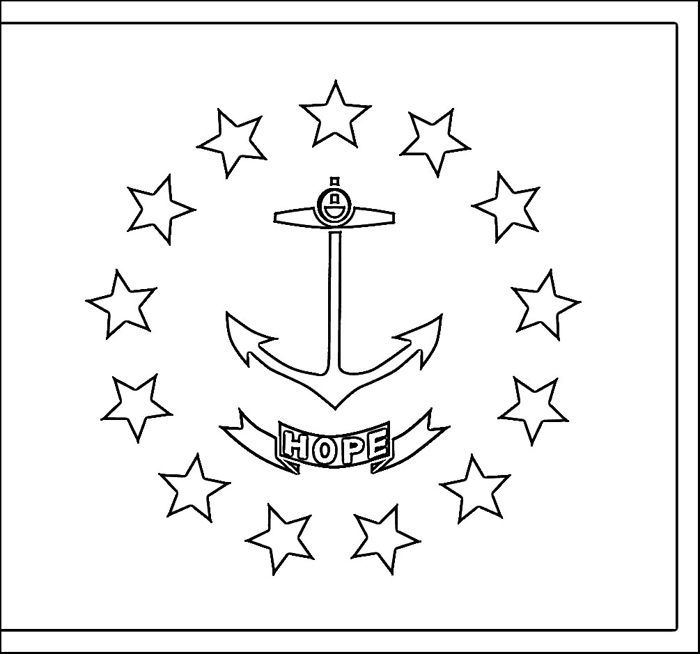 Rhode Island Flag Coloring Page Purple Kitty
