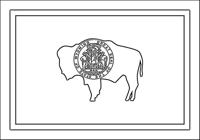 Wyoming State Flag Coloring Page More Kids Fun