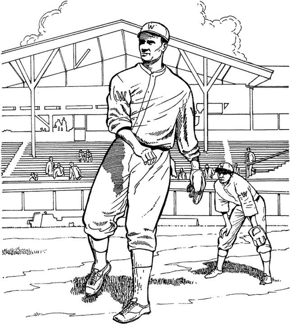 out on the field baseball coloring page