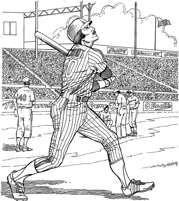 Yankee Batter Baseball Coloring Page | Purple Kitty