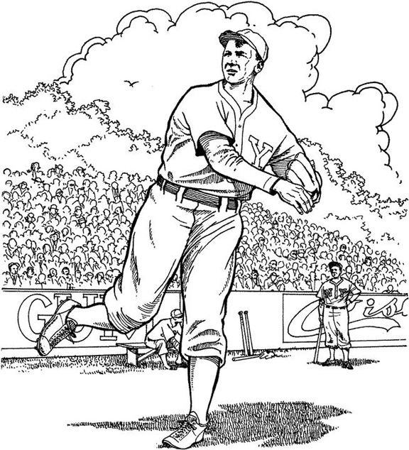 Warming Up In The Field Baseball Coloring Page