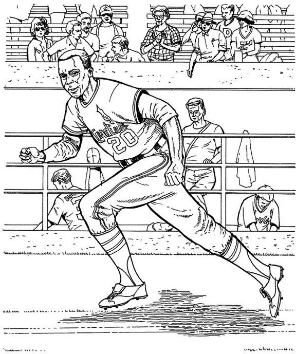 Cardinals Runner Baseball Coloring Page