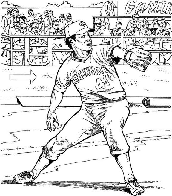 Cincinnati Reds Fielder Baseball Coloring Page Purple Kitty