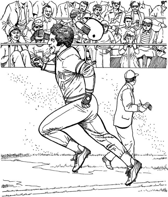 Running To First Baseball Coloring Page Purple Kitty