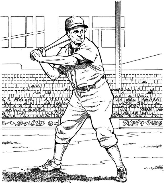 Batting for a Home Run Baseball Coloring Page Purple Kitty