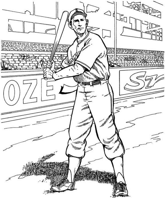 Baseball Player Baseball Coloring Page | Purple Kitty