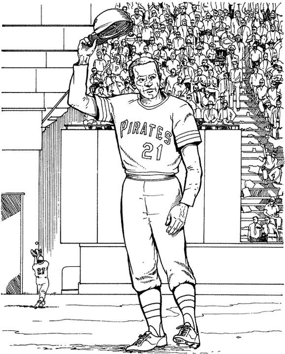 Pittsburgh Pirates Player Baseball Coloring Page | Purple Kitty