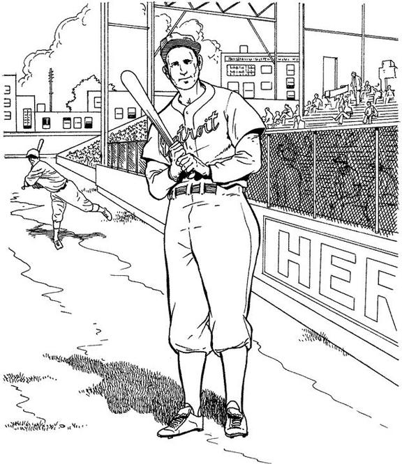 Detroit Tigers Batter Baseball Coloring Page   Purple Kitty