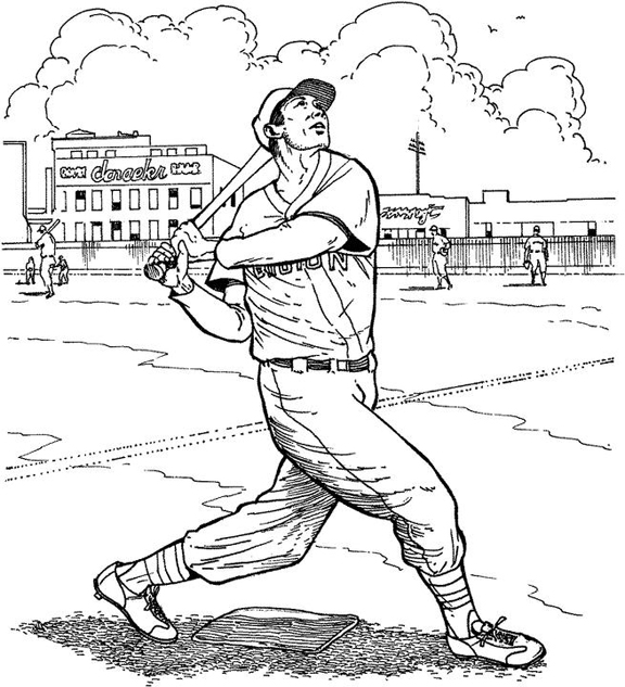 Boston Red Sox Batter Baseball Coloring Page | Purple Kitty