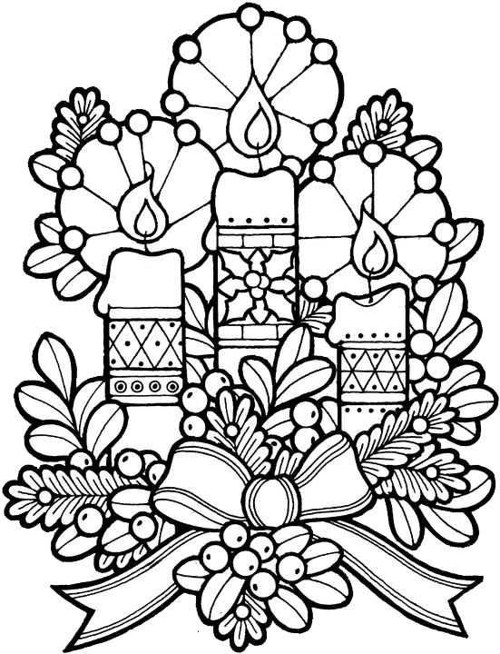 christmas coloring pages adults - christmas candles coloring pages 1 purple kitty