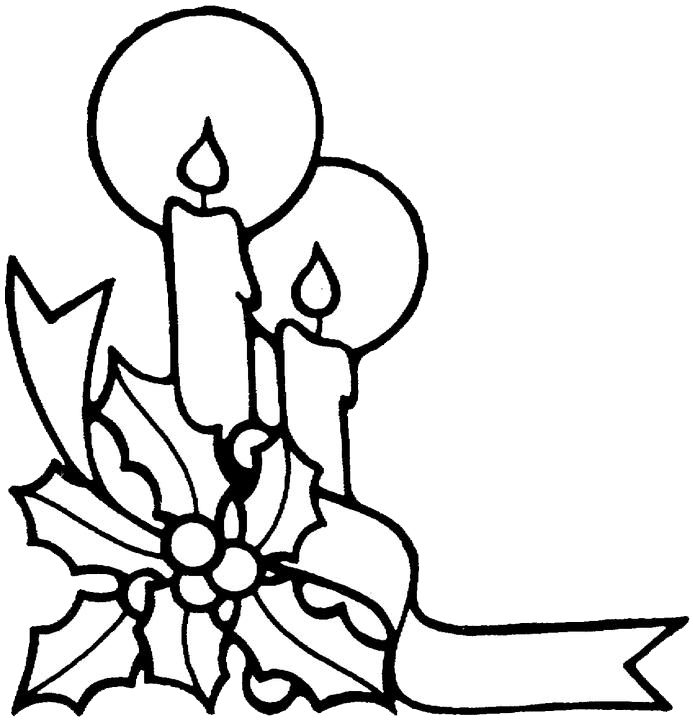 Christmas Candles Coloring Pages 2  Purple Kitty