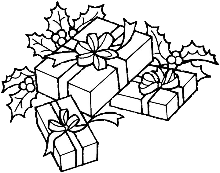 Christmas Gift Coloring Pages 1 | Purple Kitty