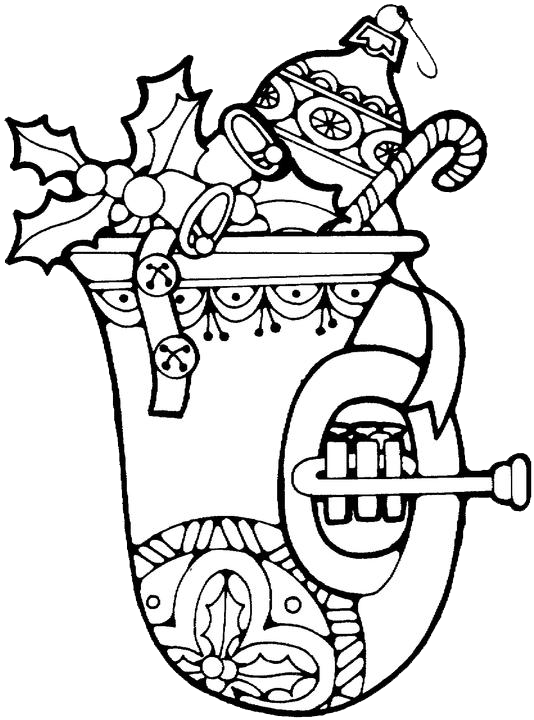 Christmas Horn Coloring Pages 1 | Purple Kitty