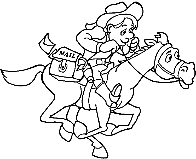 Cowboy Coloring Pages 2 Purple Kitty