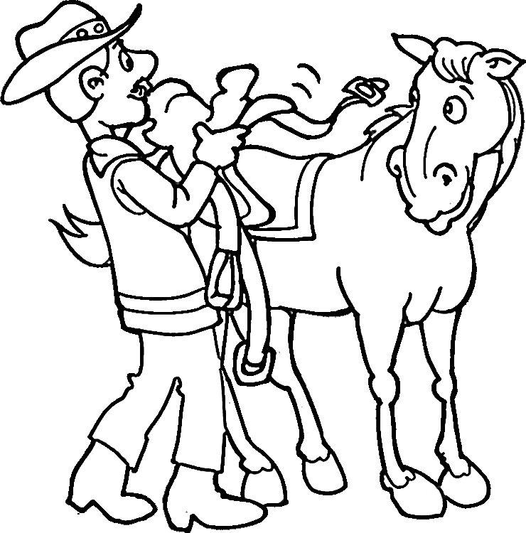 Cowboy Coloring Pages 3 | Purple Kitty