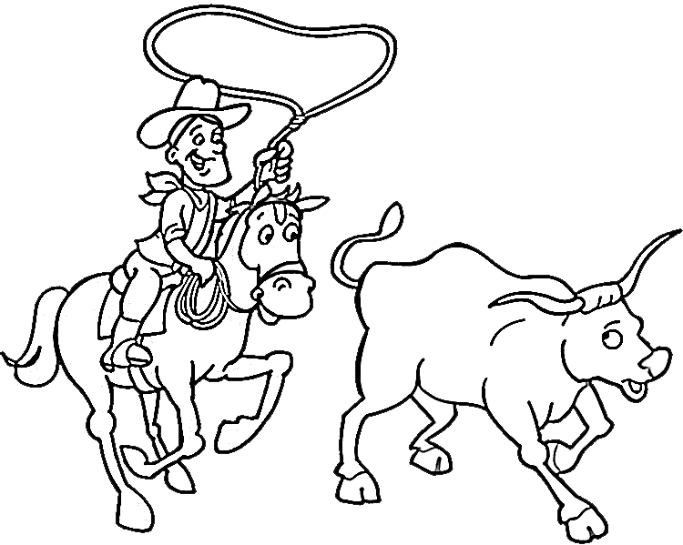 Cowboy Coloring Pages 8 | Purple Kitty