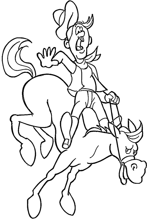 Cowboy Coloring Pages 9 | Purple Kitty