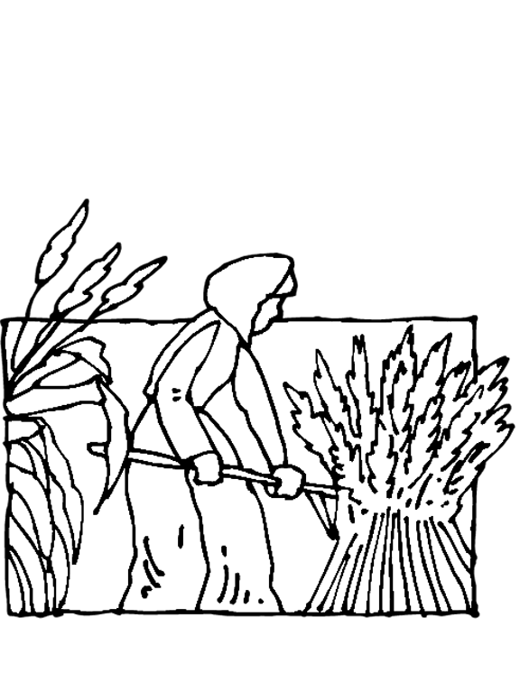 Pilgrim Girl In Field Coloring Page Purple Kitty
