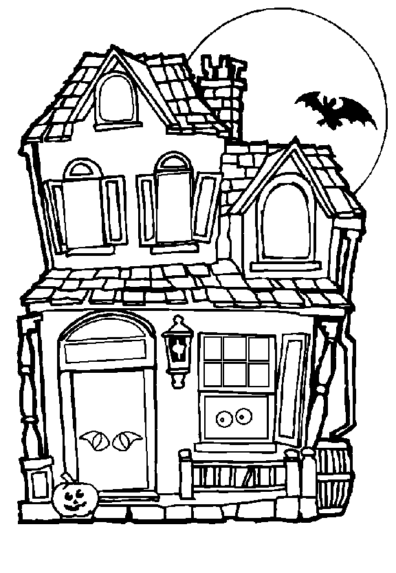 halloween house coloring pages 1