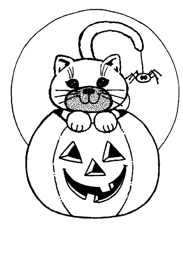 halloween pumpkin cat coloring pages 1