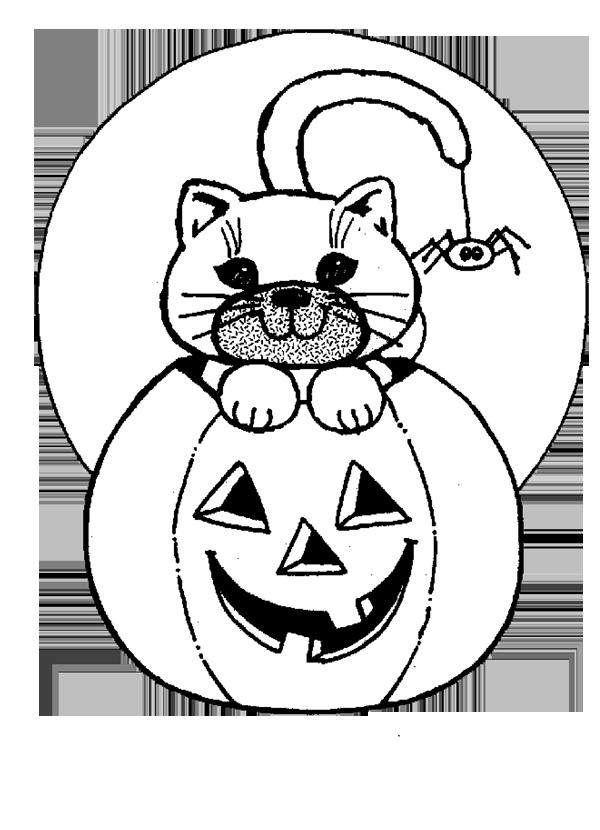 Halloween Pumpkin Cat Coloring