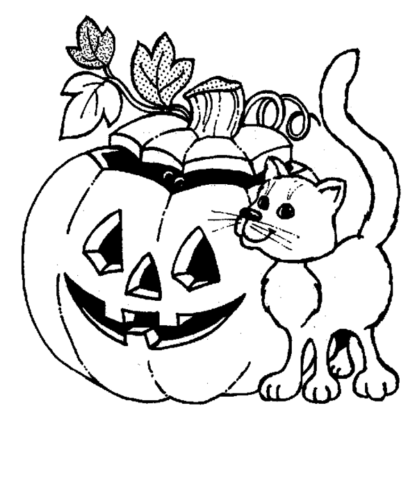 Halloween Pumpkin Cat Coloring Pages 2 Purple Kitty