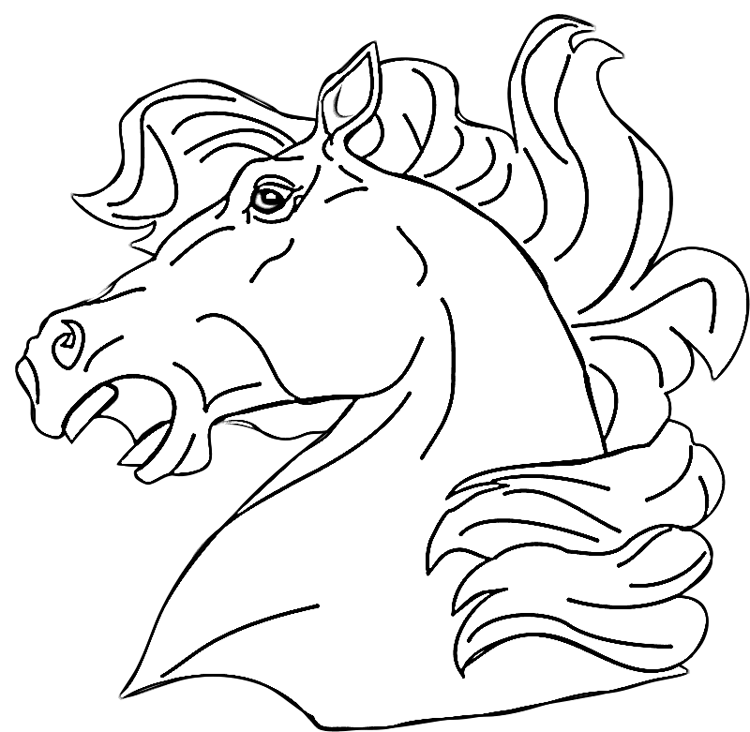 Neighing Horse Head Coloring Page