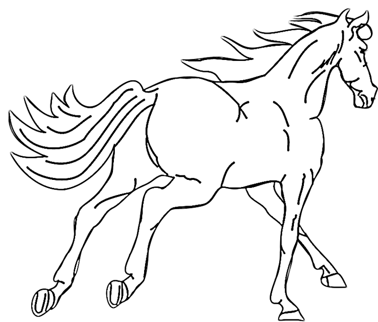 Horse Galloping Away Coloring Page