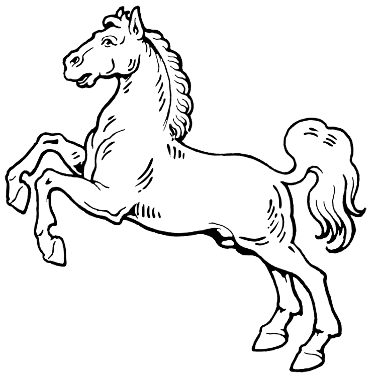 Horse rearing up coloring page