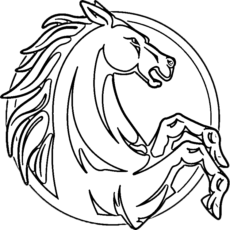 Horse Head Rearing Up Coloring Page