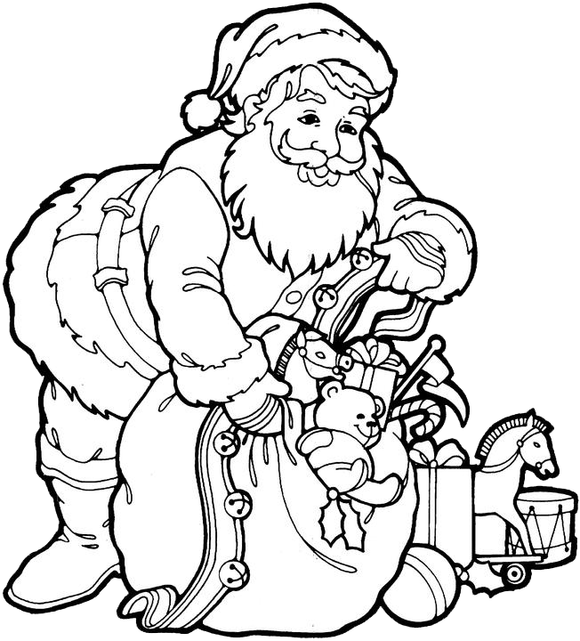 Santa Claus Coloring Pages 3 Purple Kitty