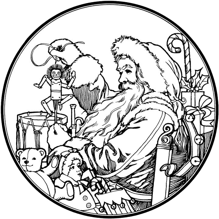 Santa Clause Coloring Page Adult