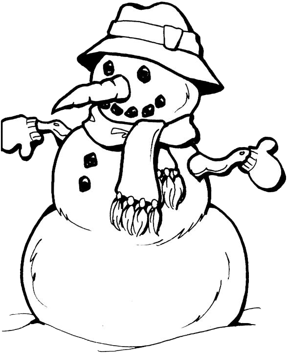 Snow Man Coloring Page 2