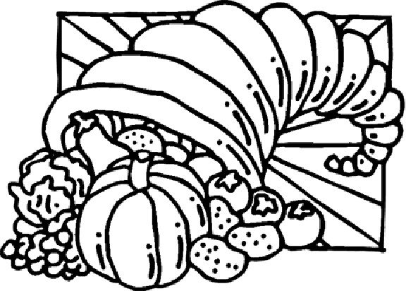 turkey and cornucopia coloring pages | Thanksgiving Cornucopia Coloring Pages 3 | Purple Kitty