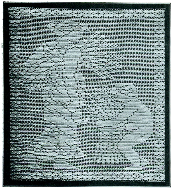 Filet Crochet Autumn Pattern Purple Kitty