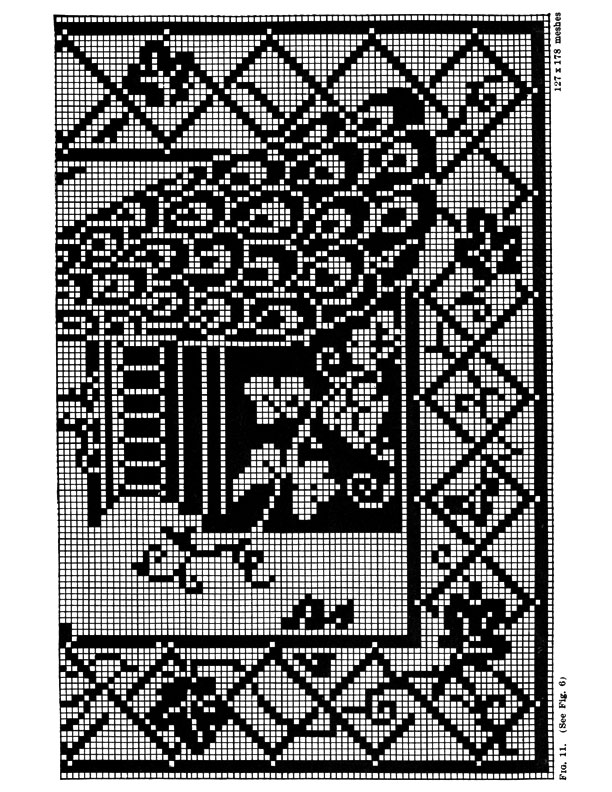 Filet Crochet Peacock Pattern Purple Kitty