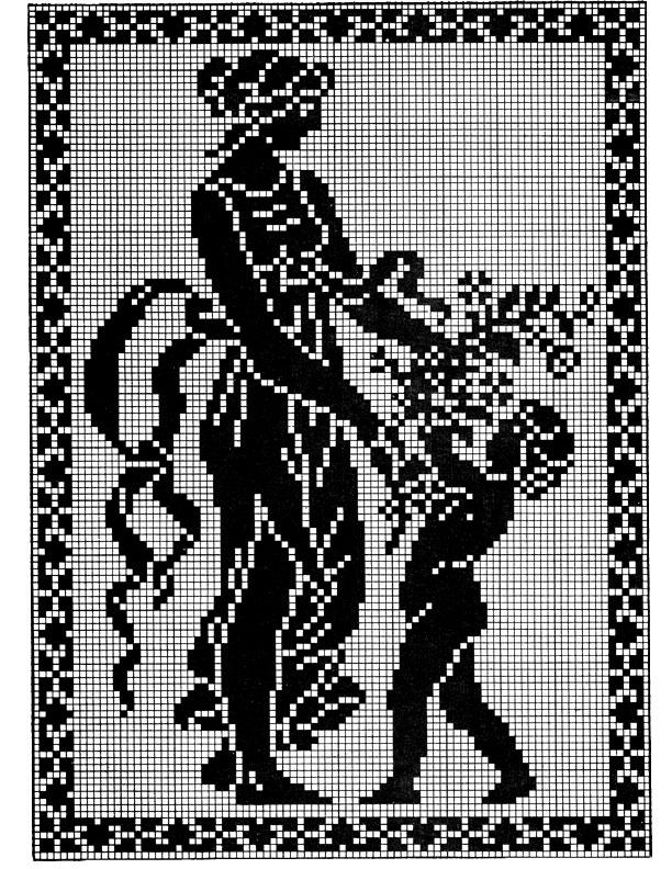 Filet Crochet Spring Pattern Purple Kitty