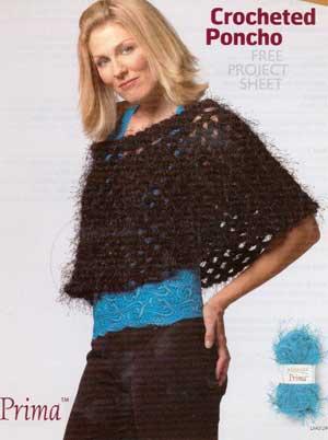 Crocheted Poncho LM0129 | Purple Kitty